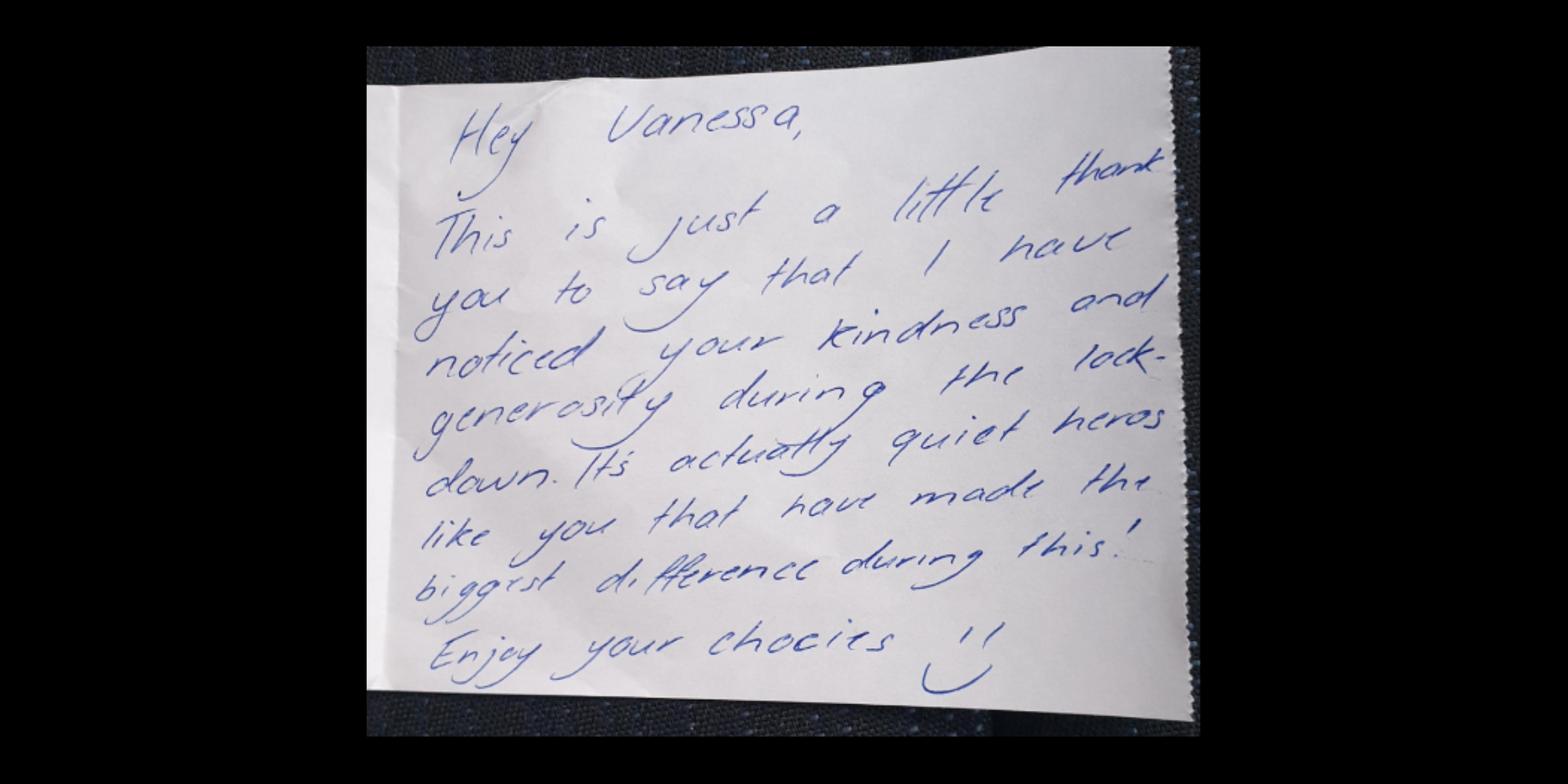 A kind note left for a volunteer by a SVA Grocery customer.