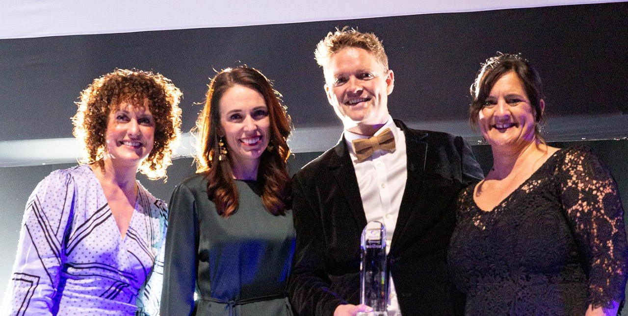 A photo of SVA and Custom D with Head of Products (VISA) and Prime Minister Jacinda Ardern.